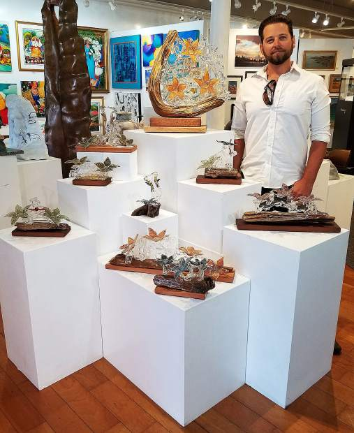 Gabriel White's glasswork is showcased and available for purchase at Nevada City's Camelot Gallery, with prices ranging from $300 to $2,200.