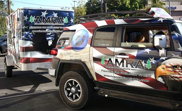A vehicle and trailer with American Mining Rights Association decals was one of a handful of support vehicles for the Walk4Liberty that passed through Grass Valley Saturday morning.