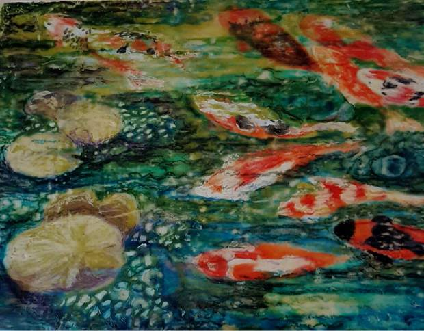 Encaustic Painting by Sharon Griffiths which will be featured at Art Works Gallery's Second Saturday Spotlight.