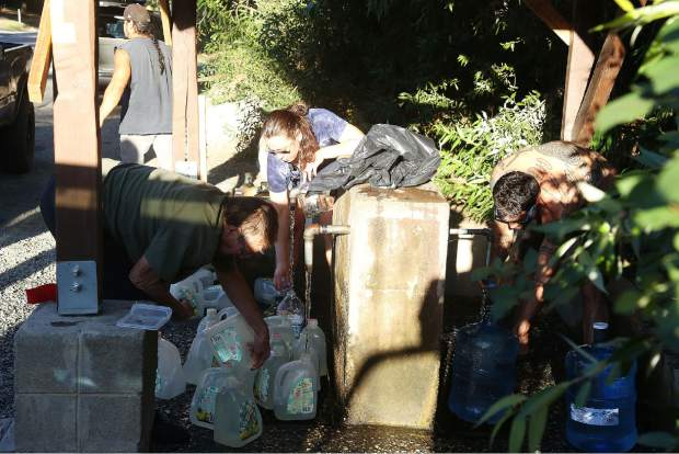 Dozens of users a day can be see filling up their water bottles at the free Bitney Springs water spigots.
