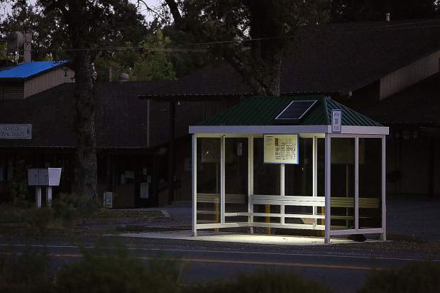 The solar-powered light over this bus stop in Penn Valley was one of the only lights on in the town's core on the morning of a planned shutdown.