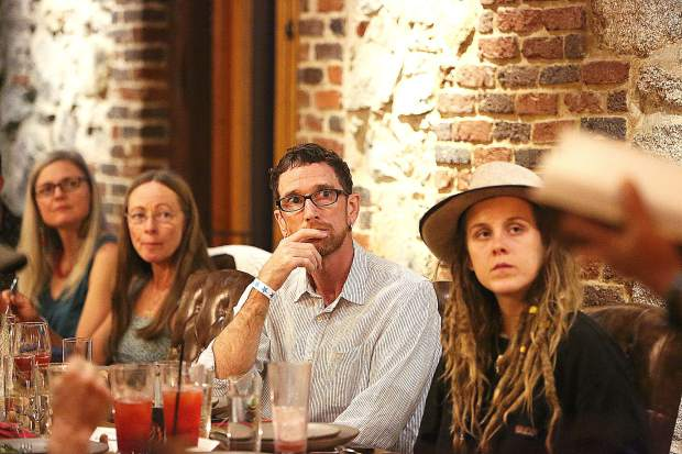 Members of the community focused their attention when Nisenan Tribal Chairperson Richard Johnson spoke during a recent California Heritage: Indigenous Research Project fundraising event at The Stone House.