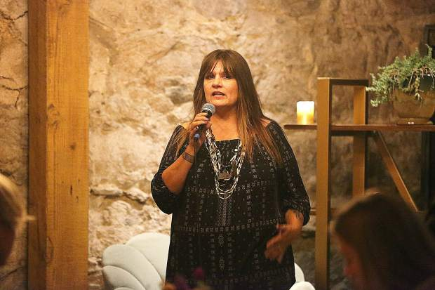 Nisenan tribal spokesperson Shelly Covert addresses the crowd during the recent CHIRP dinner fundraiser at The Stone House.