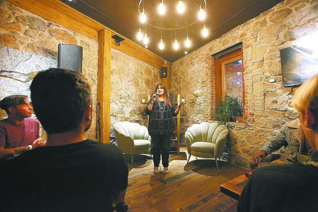 Nisenan spokesperson Shelly Covert addresses the crowd during the recent CHIRP dinner fundraiser at The Stone House.