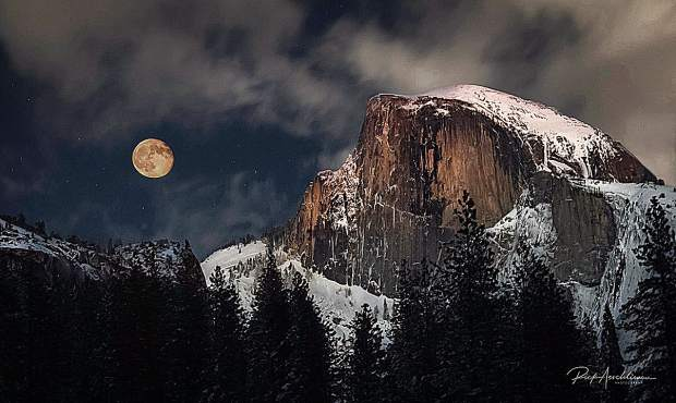 Rick Aeschliman had some help from apps, one that  told him when the moon would rise in Yosemite Valley and another enabled him to hold up his phone to Half Dome and see exactly where the moon would rise. Rick was thrilled to catch a supermoon-rise from the solitude of Cooks Meadow.