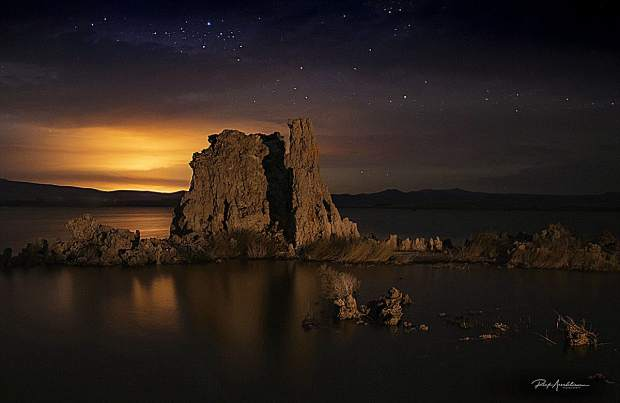 Fire, Tufa, and Stars was taken at the South Tufa (a tufa is a limestone tower formed by chemical reactions from under water springs) in Mono Lake.