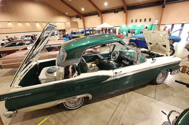 The retractable hard top from this 1959 Ford Skyliner was crowd pleaser among the Memory Lane display in the fairgrounds' main building which showcased the more than 50 years of the Roamin Angels Car Club.