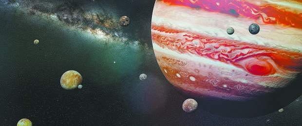 artist's interpretation of the stormy gas giant with the red dot