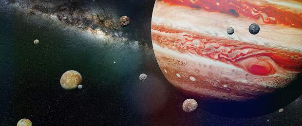 An artist's nterpretation of the stormy gas giant with the red dot.