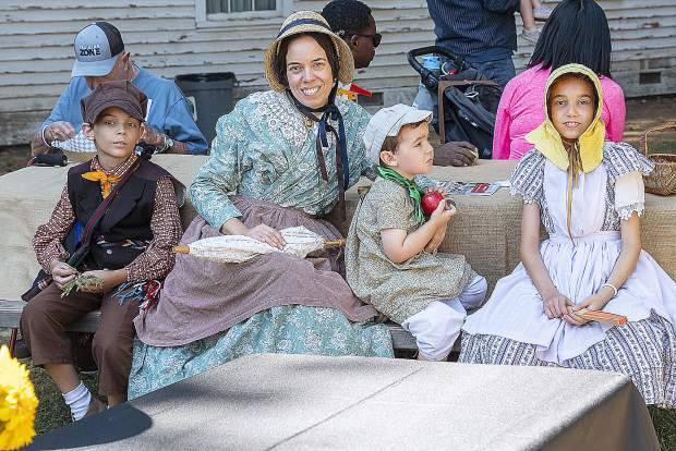 A family from Folsom dressed in 1800s French clothing at the park Saturday. Left to right are: Louis Giasson, Eve-Lyne Leclerc, Théodore Giasson, and Jasmine Giasson. Eve-Lyne Leclerc of EFSac, Education Francaise de Sacramento offers French language education to French speaking and non-French speaking children in the Sacramento area.