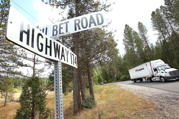 Truck and passenger vehicle traffic make their way along Highway 174 through a portion of the roadway scheduled for improvement between You Bet Road and Maple Way.