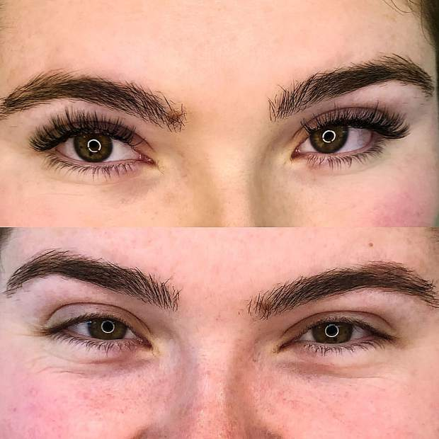 A client's before and after photos after eyelash extensions applied at Anjelica's Lash Lounge in Grass Valley.
