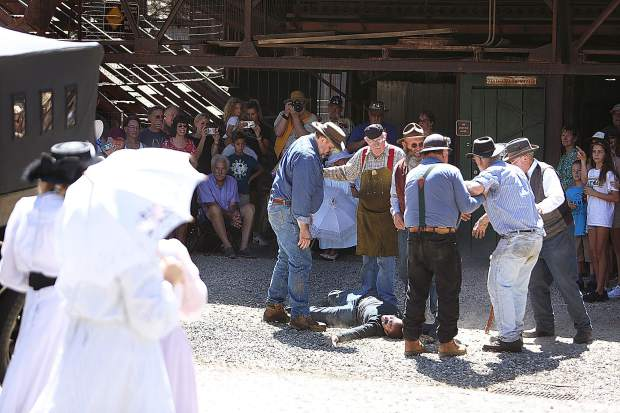 The Empire Mine State Park docents perform a mine rescue re-enactment during the annual Miners Picnic.