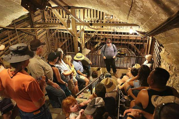 Mine docent Jim Slouber gives a tour of the entrance of the Empire Mine main shaft that was used up until 1956 when production stopped.