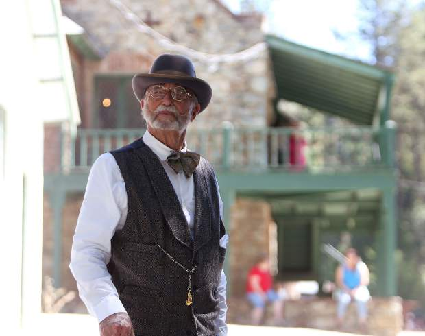Empire Mine docent Bince Seck portrays mine manager George Starr during the annual Miners Picnic at the Empire Mine State Park Saturday.