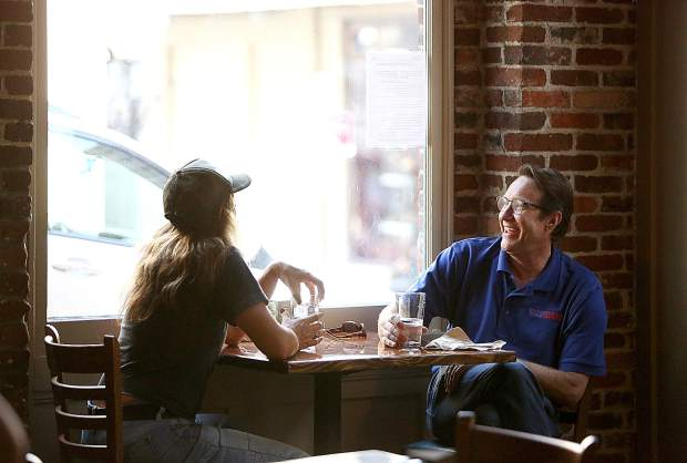 A pair of customers enjoy their time at One 11 Kitchen & Bar in downtown Nevada City.