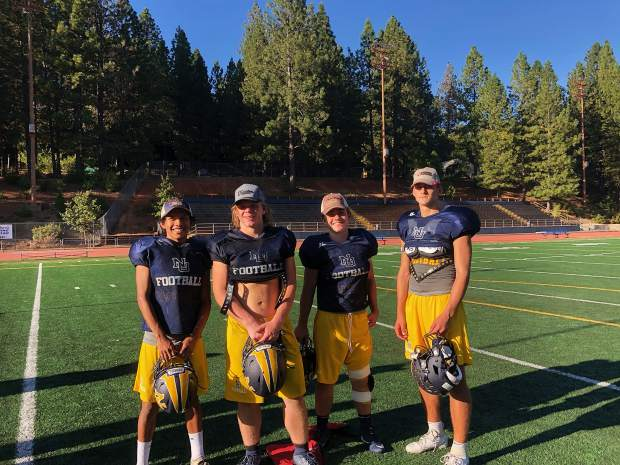 The Miners' Tractor Supply Practice Players of the Week were Jaxon Horne (right), Jaycee Youngman (second from right) and Jon Patterson. Moises Tovar (left) was named the Special Teams Player of the Week.