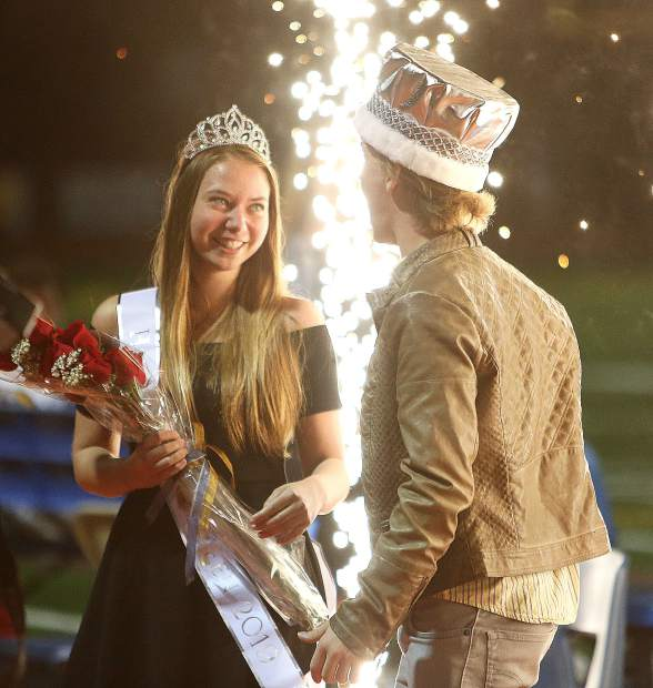 Sparks fly when the Nevada Union homecoming queen and king are crowned.