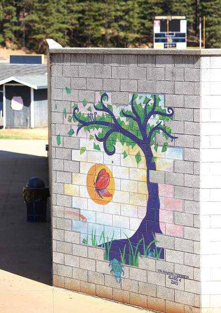A Nevada Union High School mural helps brighten up the amphitheater on campus.