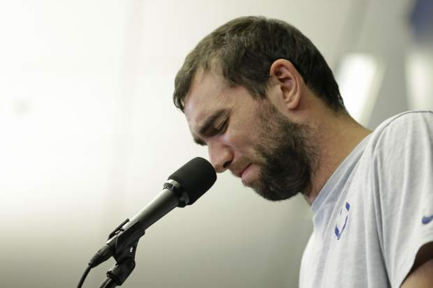 Indianapolis Colts quarterback Andrew Luck speaks during a news conference following the team's NFL preseason football game against the Chicago Bears Aug. 24, 2019 in Indianapolis. The oft-injured star is retiring at age 29.