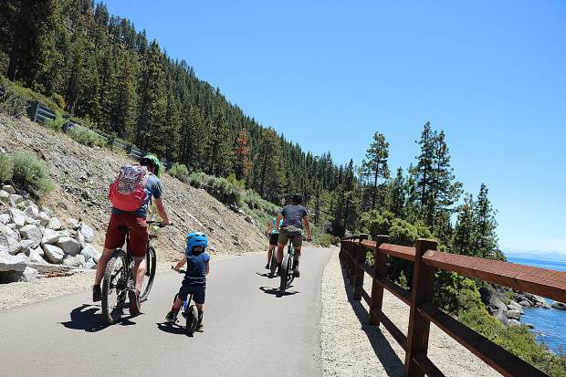 Cyclists enjoy the Tahoe East Shore Trail.