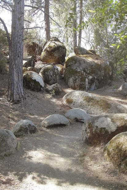 The jumble of bedrock boulders left in place after mining operations over 100 years ago provide a picturesque backdrop along the trail.