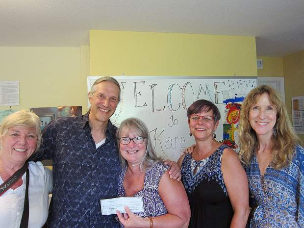 The Good Works Committee delivers a gift to Kare Crisis Nursery 8/22/19. Consistent with our mission of making our community a better place to live, members of Oustomah Lodge #16 delivered a check to Lynn Woerner, executive director of Kare Crisis Nursery in Grass Valley. Our gift supports the incredible work the Nursery does for families and children in distress in Nevada County. Pictured above are Odd Fellows Lisa Lillie, Sabastian St. John, Lynn Woerner of Kare, and Odd Fellows Kris Crabtree and Sasha St. John.