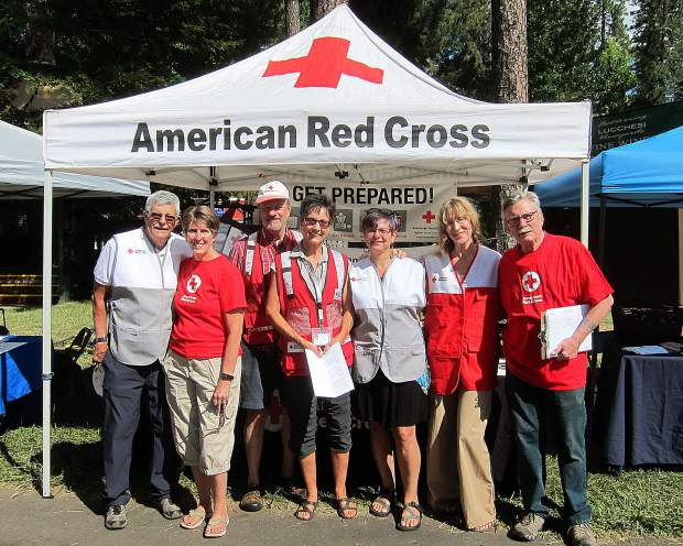 The Odd Squad helping staff the American Red Cross booth at the Nevada County Fair 8/8/19. As part of a Lodge service initiative started last year by Past Noble Grand Kate Winningham, a group of Oustomah members have registered as American Red Cross volunteers. We are proud that two of our sisters spent time on the front lines in the Camp Fire last year. When our local ARC chapter was offered an opportunity to exhibit the ARC educational booth at our local Nevada County Fair, three Oustomah members (shown) Kris Crabtree, Richard Gorman, and Sasha St. John signed up to help. The crew interacted with over 200 members of the public, with a focus on Preparedness, in one six-hour shift.