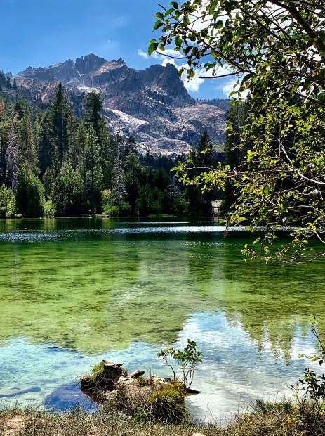 The German American hiking club went on its annual hiking/camping trip to Gold Lakes basin in the Sierra Buttes. Pictured here is Sand Pond with the Sierra Buttes in the background, where several of the group went swimming after hiking to the lookout on top of the buttes!