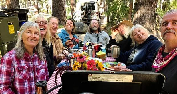 It's been a busy month for the Odd Fellows Oustomah Lodge #16 IOOF of Nevada City! Fellowship Building at Grover Hot Springs State Park, 8/13 to 8/16/19 - Nine members and friends of Oustomah shared breakfast. Some went to the hot springs for a soak, some hiked to the waterfall, some did both, in Odd combinations. Three nights of shared meals and campfire circles and generally enjoying each other's company, we all agreed, was good for us.