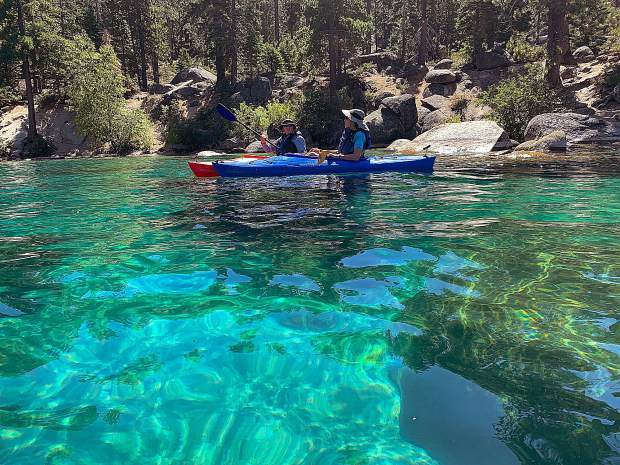 Kayaking with friends from Sand Harbor down to Chimney Beach in beautiful Lake Tahoe last Thursday, September 12 - it was warm enough to go swimming!