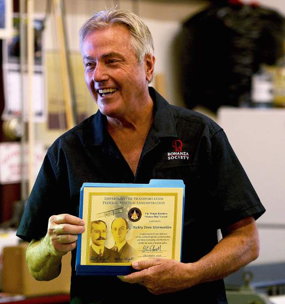 Rick Utermoehlen of Grass Valley was presented last week with the Wright Brothers Master Pilot Award