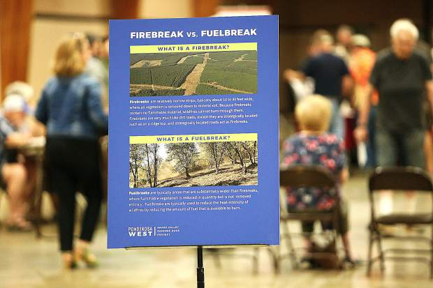 Informational displays at Wednesday evening's meeting about the Ponderosa West Grass Valley Defense Zone Project denote the difference between a fire break and a fuel break. The Ponderosa fuel break will remove vegetation but does not call for a clear cut.