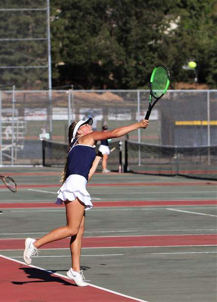 Nevada Union's Reese Wheeler beat her River Valley opponent 6-0, 6-4 in the No. 1 singles match Tuesday.