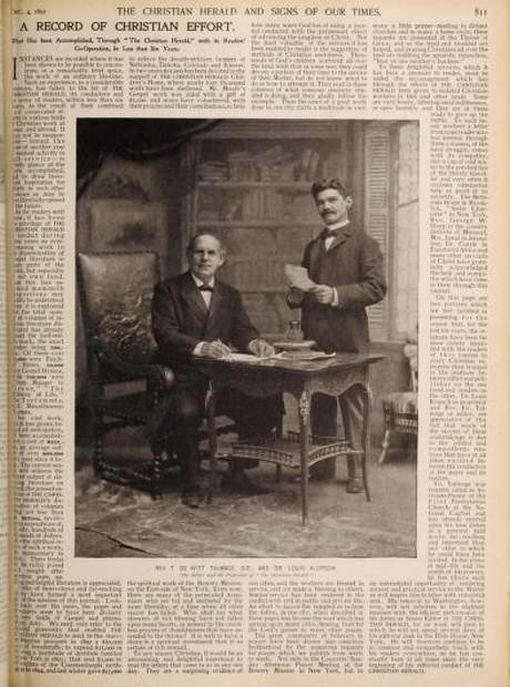 Thomas de Witt Talmage and Louis Klopsh. From the Christian Herald, Dec. 4, 1895.