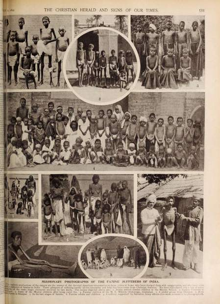 Missionary photographs of the famine in India from the Christian Herald, July 7, 1897.