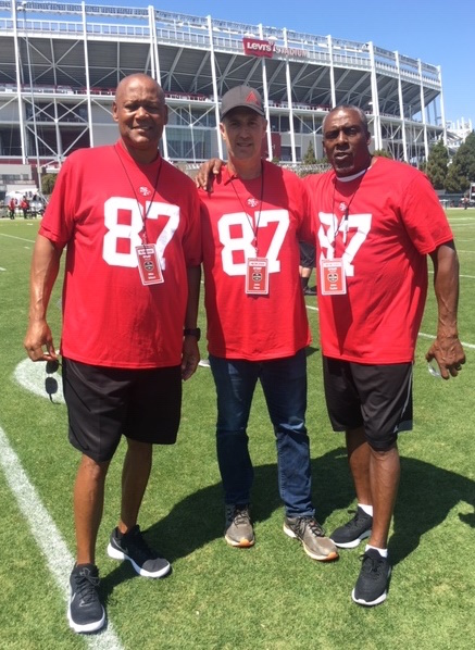 Former San Francisco 49er football players, left to right, Mike Wilson, John Paye, and John Taylor will attend the Red Zone Affair, a fundraiser for the Fire Safe Council of Nevada County.