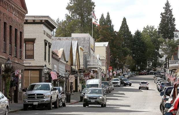 American flags line Broad Street in Nevada City in anticipation of this Sunday's Constitution Day Parade.