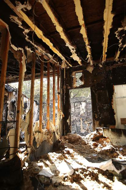 The interior of Rick Toles' Rough and Ready home is gutted after firefighting efforts to extinguish the blaze.