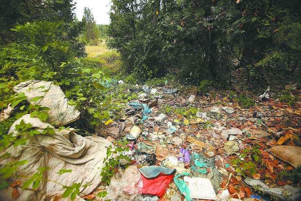 A pathway sits full of trash left from an abandoned homeless encampment on a property bordering Brunswick Road last week. Homeless pushed out of the Brunswick basin due to housing construction set up camp on this property and have since been removed leaving piles of trash.