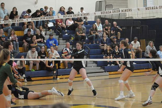 Nevada Union's Kiana Spillner digs the ball during a contest with Placer Monday at Albert Ali Gymnasium.