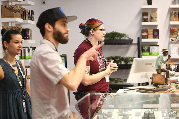 Well knowledged staff are ready to assist an ever growing number of patrons at Nevada City's Elevation 2477 cannabis dispensary.