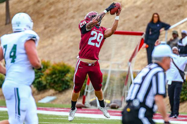 Sierra College linebacker Austin Baze snagged an interception and took it back 45-yards for a touchdown during Saturday's 44-21 victory over Shasta College. Baze is a 2018 Bear River graduate.