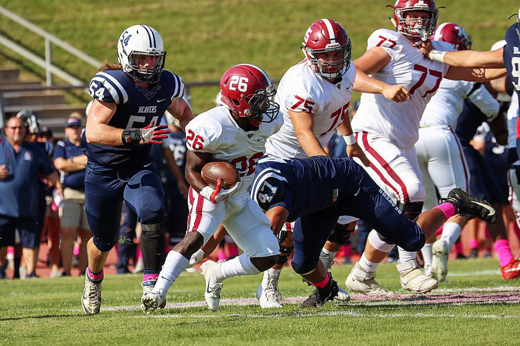 American River's Justin Houlihan (54) tallied a team-high six tackles in a win over Sierra College on Saturday, Houlihan is a 2018 Nevada Union graduate.