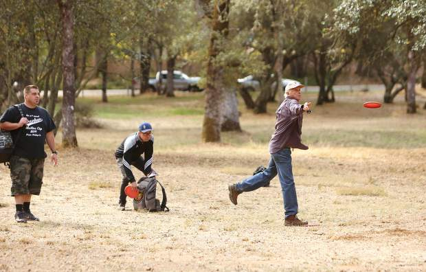 Grass Valley's John Barsby, father of disc golf great Gregg Barsby, was one of 65 participants from more than 30 teams to participate in the disc golf portion of Saturday's United Way benefit at Western Gateway Park.
