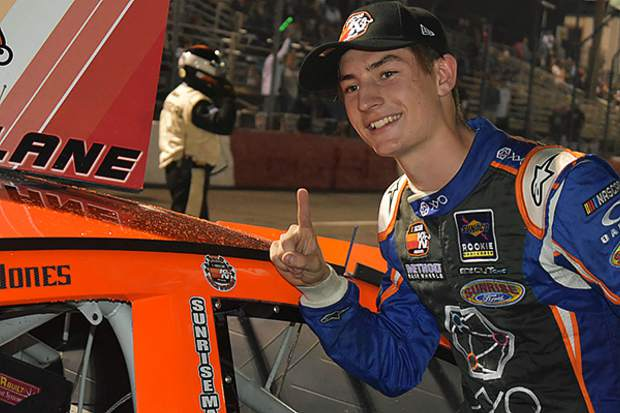 Arizona's Jagger Jones, grandson of Indianapolis 500 champion Parnelli Jones, won his first NASCAR K&N Pro Series, West race Saturday in Roseville.