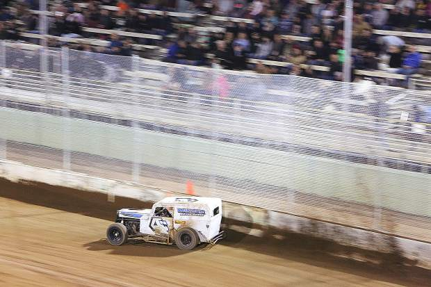 Patrick Winter (4) was the fastest racer on the track during Friday night's Vintage Duels racing at the Nevada County Fairgrounds, beating out the competition of 13 other racers.