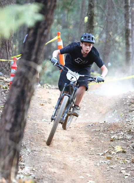 A racer in the advanced group barrels down the course during Tuesday's Union Hill mountain bike race.