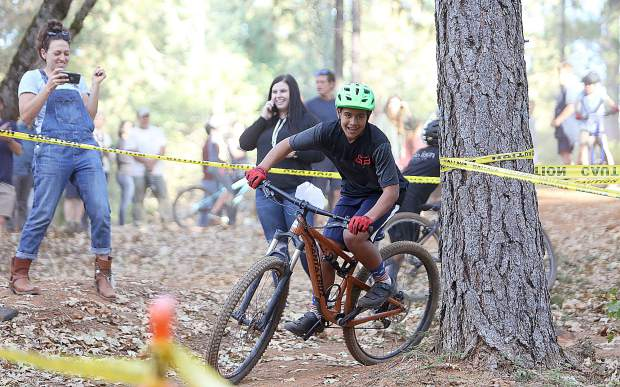 Tuesday's advanced mountain bike course took boys and girls racers along a course that included technical turns.