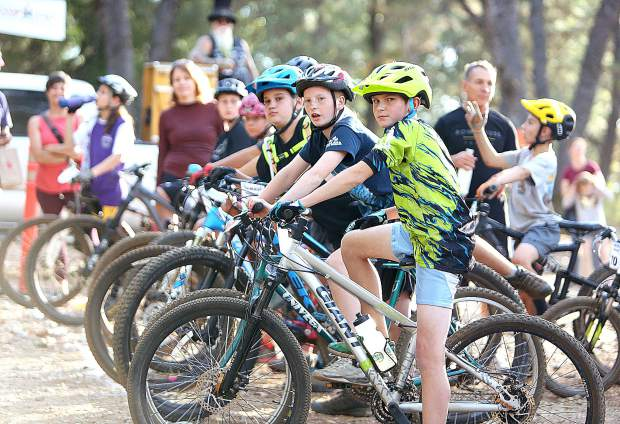 A group of eager young riders from 11 area elementary schools, await the start of the advanced race Tuesday afternoon where the Union Hill Invitational Mountain Bike Race was held off of Osborne Hill Road. About 70 riders took place in the inaugural event that organizers hope will be a recurring event.